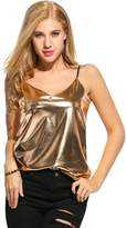 Romanstii Women's Shiny Metallic Liquid Wet Look Vest Top Camisole...