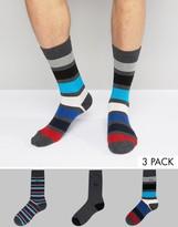 Pringle Socks In 3 Pack With Stripe