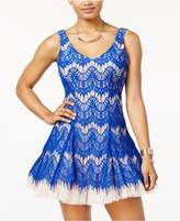 B. Darlin Juniors' Contrast Lace Fit and Flare Dress, A Macys Exclusive Style