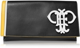 Emilio Pucci Logo Black Leather Flap Clutch