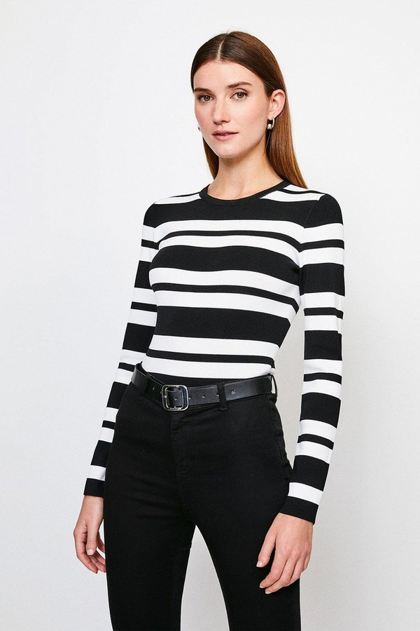 Karen Millen Stripe Rib Knitted Jumper