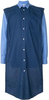 Comme des Garçons Shirt Two-Tone Denim Long Shirt