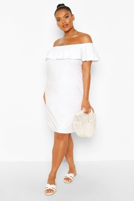 boohoo Plus Off The Shoulder Ruffle Shift Dress