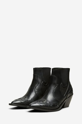 Aida - Selected Femme Black Leather Sweets Cowboy Boot - 38