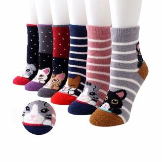Yutdeng Women Cat Claw Socks Warm Super Soft Plush Slipper Sock Winter Fluffy Microfiber Crew Socks Casual Home Sleeping Fuzzy Cozy Sock