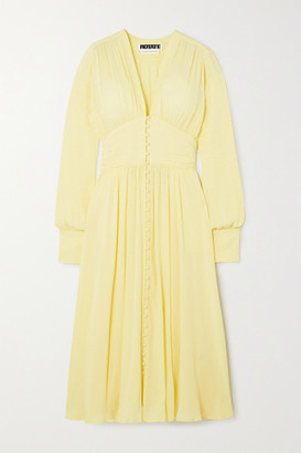 Rotate by Birger Christensen Tracy Ruched Jacquard Midi Dress - Yellow