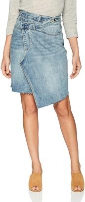 EVIDNT Women's Reconstructed Wrap Front Asymmetrical Denim Jean Skirt