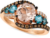 LeVian Le Vian®Chocolatier Morganite (1-3/8 ct. t.w.), Blue Topaz (1/2 ct. t.w.) and Diamond (3/8 ct. t.w.) Ring in 14k Rose Gold, Only at Macy's