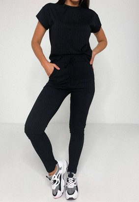 Missguided Black Rib T Shirt And Joggers Co Ord Set