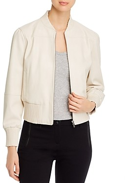 T Tahari Faux Leather Bomber Jacket