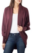 Bordeaux Womens Fleece Lined Open Cardigan Sweater Red XS