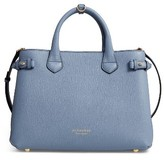 Burberry Medium Banner House Check Leather Tote - Blue
