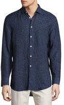 Billy Reid John T Box-Check Linen Oxford Shirt, Indigo