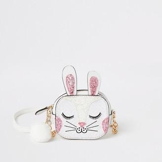 River Island Girls white bunny embellished cross body bag