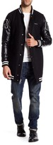Members Only Wool Blend Faux Leather Sleeve Varsity Jacket