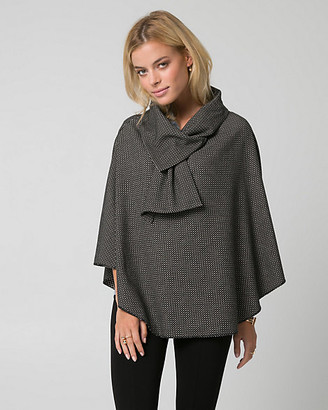 Le Château Printed Tweed Cowl Neck Poncho