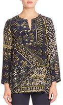 Lafayette 148 New York Adeline Mixed Media Silk Blouse
