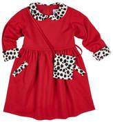 Florence Eiseman Long-Sleeve Ponte Dress w/ Cow-Print Trim & Crossbody, Size 2-6X