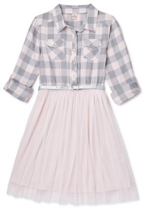 Sweet Butterfly Girls Long Sleeve Plaid and Tulle 2Fer Dress, Sizes 4-16