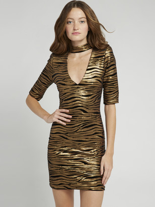 Alice + Olivia Inka Gold V-Neck Dress