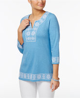 Charter Club Petite Cotton Embroidered Peasant Top, Only At Macy's