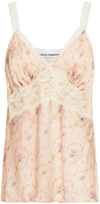 Paco Rabanne Lace-trimmed Printed Satin Camisole