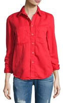 Mother Double Foxy Button-Front Shirt, Spice (Red)