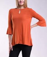 Lbisse Women's Blouses Solid - Terracotta Keyhole Three-Quarter Sleeve Tunic - Women