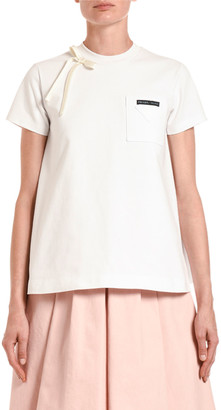 Prada Satin-Bowed Short-Sleeve Jersey Tee