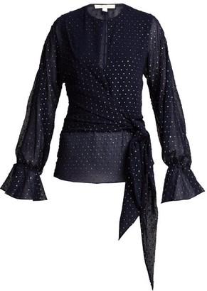 Jonathan Simkhai Tie-front Blouse - Navy Silver