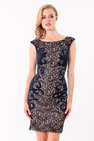 Terani Couture 1523C1100A Lace Embellished Bateau Sheath Dress