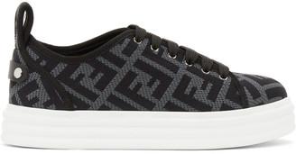 Fendi Grey and Black Forever Flatform Sneakers