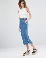 Warehouse Denim Midi Skirt