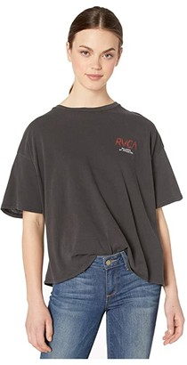 RVCA Parker Boyfriend Tee (Washed Black) Women's Clothing