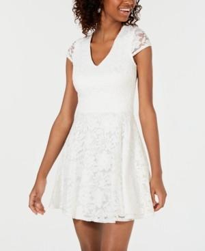 B. Darlin Juniors' Lace Tie-Back Fit & Flare Dress