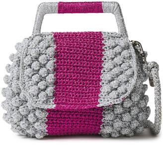 M Missoni Pompom-embellished Metallic Knitted Tote
