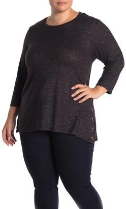 Bobeau Side Button Fleece Pullover (Plus Size)
