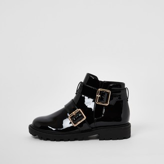 River Island Girls Black patent buckle chunky ankle boots