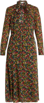 RED Valentino Floral-print long-sleeved silk-crépon dress