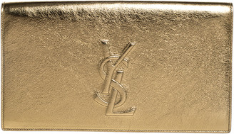 Saint Laurent Paris Metallic Gold Leather Belle De Jour Flap Clutch