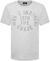 Diesel Boys Grey Cotton Branded Top