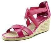 Lauren Ralph Lauren Cortney Women Open Toe Patent Leather Pink Wedge Sandal.