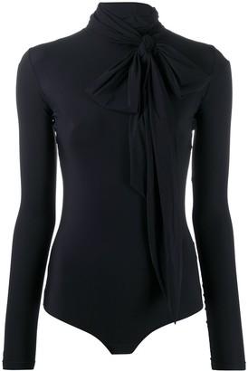 MM6 MAISON MARGIELA Circular Zebra Print Bow-Embellished Bodysuit