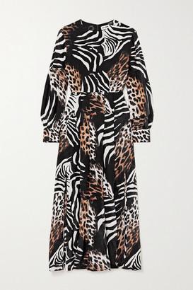 Rixo Emma Pleated Printed Silk Midi Dress - Leopard print