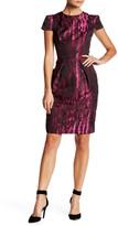 Carmen Marc Valvo Short Sleeve Moire Cocktail Dress