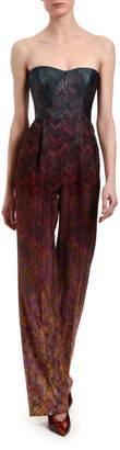 Missoni Shimmer Chevron Silk Strapless Jumpsuit