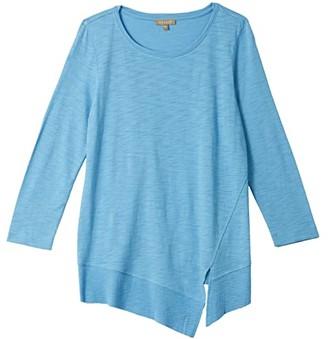 Lilla P 3/4 Sleeve Rib Trim Tee in Flame Modal (Lilac) Women's Clothing