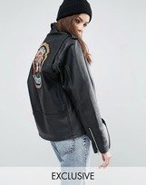 Reclaimed Vintage Revived Leather Biker Jacket With Guns N' Roses Band Sequin Patch