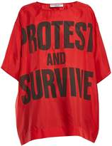 Katharine Hamnett Protest and Survive-print silk T-shirt