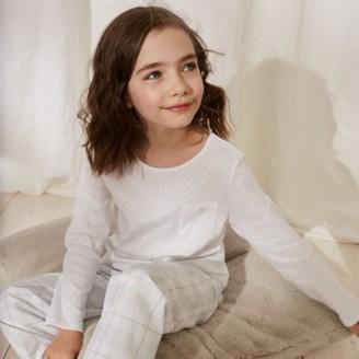 The White Company Pointelle Check Pyjamas (1-12yrs), White Blue, 2-3yrs